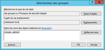 Ajout groupe vmware admins