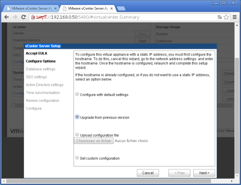 vcenter 5.5:5480 Configure options