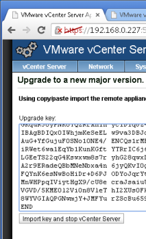vcenter 5.1:5480 Upgrade Key collée