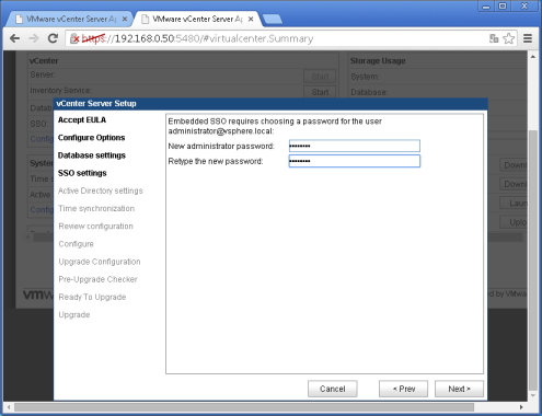 vcenter 5.5:5480 Upgrade configuration Etape 6