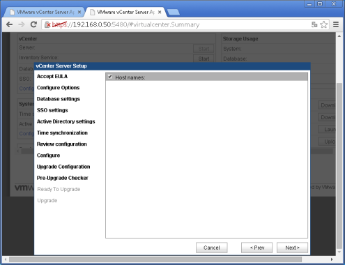 vcenter 5.5:5480 Upgrade configuration Etape 7