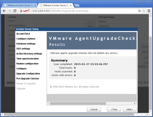 vcenter 5.5:5480 Upgrade configuration Etape 8