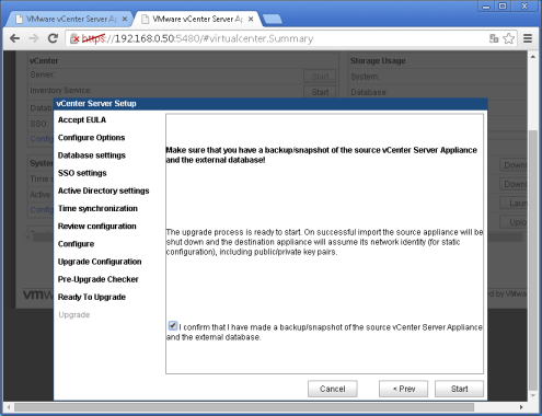 vcenter 5.5:5480 Upgrade configuration Etape 9