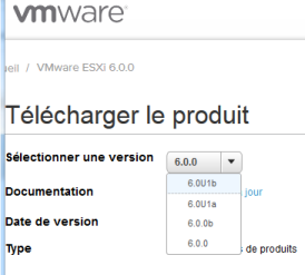 vmware choix de la version