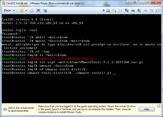 Installation VMware Tools