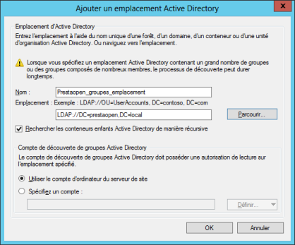 Emplacement Active Directory