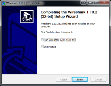 Fin de l'installation de Wireshark