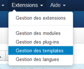 Menu Gestion des Templates