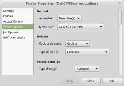 Onglet Printer Options