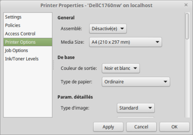 Onglet Printer Options modifié