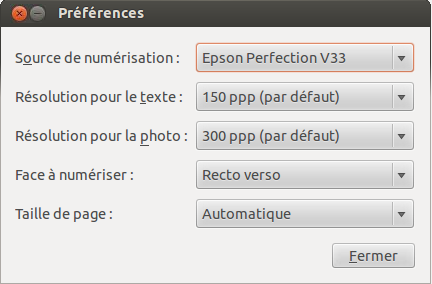 Simple Scan Choix Epson V33