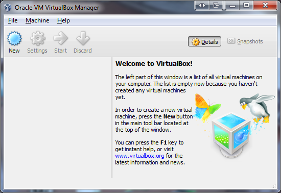Velcome to VirtualBox