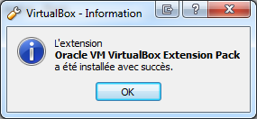 Extension Pack VirtualBox 5.0 installée