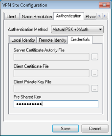 Onglet Authentication Credentials